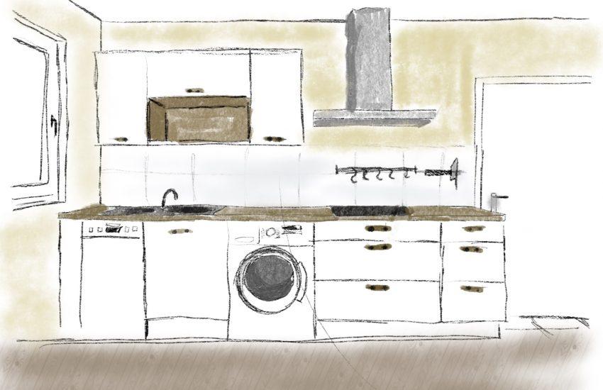 Grobe Skizze einer Küchenplanung