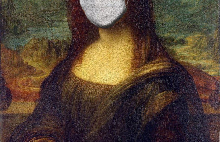 Die Mona Lisa mit einem Mund-Nasen-Schutz